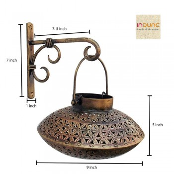 Iron Wall Bracket with Perforated Degchi Tea Light Holder - Antique Golden