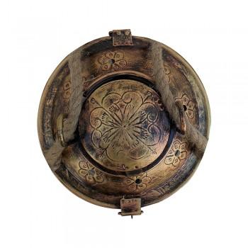 Antique Golden Iron Glass Lantern with Jute Sling