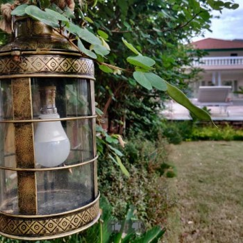 Antique Golden Iron Glass Lamp with Jute Sling