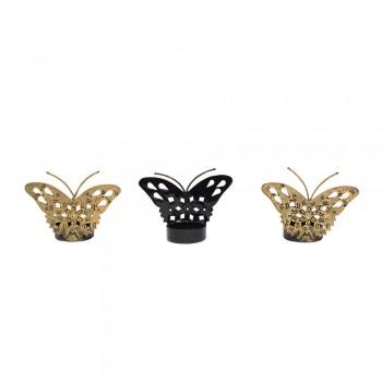 Butterfly Tealight Holder - Antique Golden - Set of Three