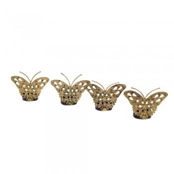 Butterfly Tealight Holder - Antique Golden - Set of Four