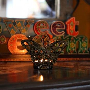 Butterfly Tealight Holder Silver Finish - 1