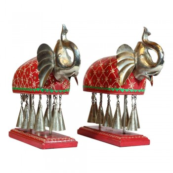 The Elephant with Metal Bells Statuette Set of Two