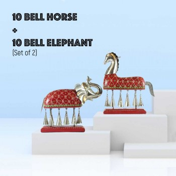 Elephant and Horse with Metal Bells (Set of Two)