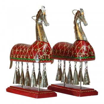 10 Bell Horse  Wood Hand Painted | Metal Set of Two