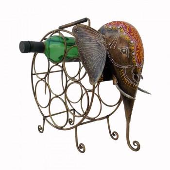 Elephant Wine Bottle Rack - Iron Painted