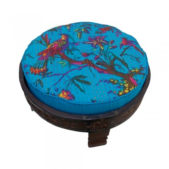 Rajasthani Chakki Upholstered Ottoman - Low Height Seater