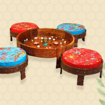 Rajasthani Low Chakki Seater Set  (4 Seaters + Centre piece)