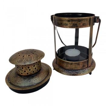 "Antique Golden Finished Iron Glass Candle Lantern - 8"""