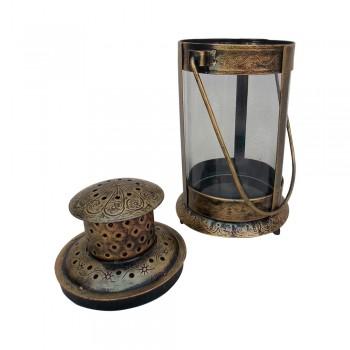 "Antique Golden Finished Iron Glass Candle Lantern - 10"""