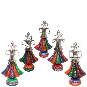 Rajasthani Ghagra Musicians with Tribal Music Instruments - Set of 5