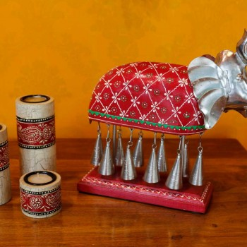 10 Bell Elephant - Wood Hand Painted | Metal