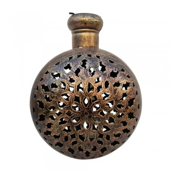 Antique Golden Finished Perforated Iron Kudia Tea-Light Pot : 12""