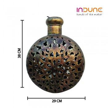 """Antique Golden Finished Perforated Iron Kudia Tea-Light Pot : 15"""""""