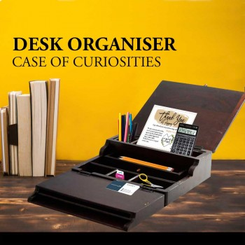 Flap Openable Wooden Box - for office utilities, jewellery or knick knacks