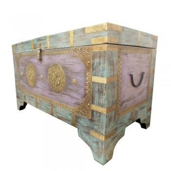 Distress Painted Brass Art Wooden Treasure Box