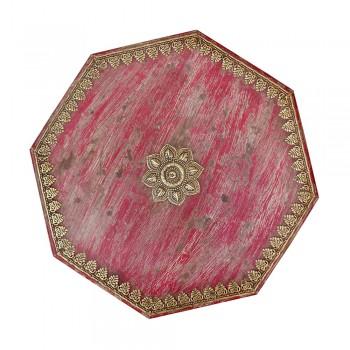 Octagonal Shaped Distress Wooden Bajot Chowki - Embossed Brass Artwork