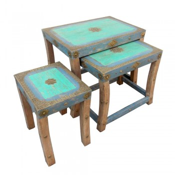 Distressed Painted Wooden Nesting Stools - Set of Three