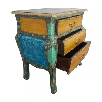 Multicolour Distress Wooden Chest of Three Drawers - Bed Side
