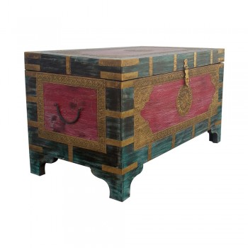 Colorful Distressed Treasure Box (Pitara)- Embossed Brass Art (Red/Blue).