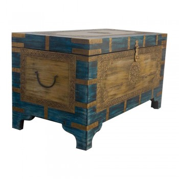 Colorful Distressed Treasure Box (Pitara)- Embossed Brass Art (Yellow/Blue).