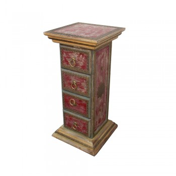 "Chest of Four Drawers ""The unaffected Pillar"" - Distressed Red"