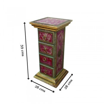 """Chest of Four Drawers """"The unaffected Pillar"""" - Distressed Red"""
