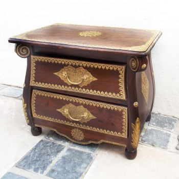 Colonial Style Bedside Cabinet with Indian Brass Artwork