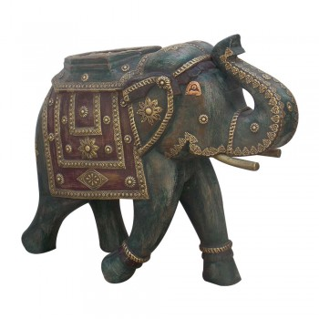 Wooden Rustic Elephant - Distressed Painted, Brass Art