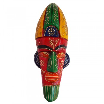 Wooden Tribal Mask Wall Piece 12""