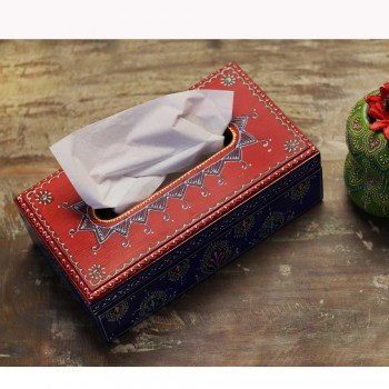 Wooden Hand-Painted Tissue Box