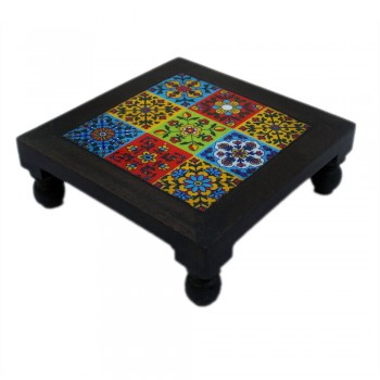 "Square Wooden Chowki Pooja Bajot with Ceramic Tile Top Art Bajot , Hot Plate 8""x8"""