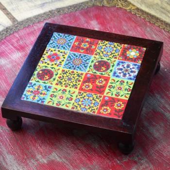 Square Wooden Tile Art Bajot - Pooja Chowki 10x10