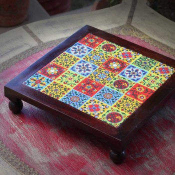 Square Wooden Tile Art Bajot - Pooja Chowki- Hot Plate. 12 x 12 inch