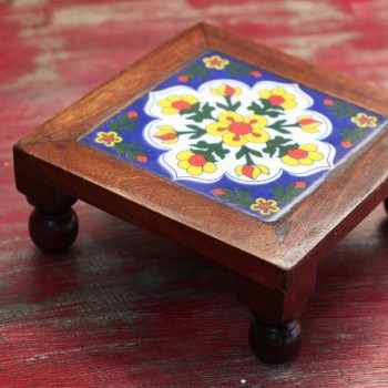 Square Wooden Tile Art Bajot - Pooja Chowki 7x7