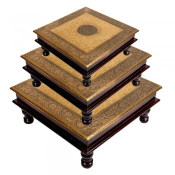 Wooden Square Pooja Chorang Embossed Brass Art (12*12*6)