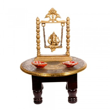 "Wooden Round Pooja Chorang- Embossed Brass Art (Dia 10"")"
