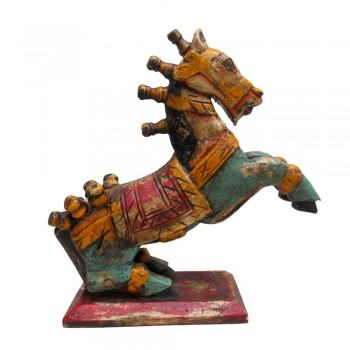 Rustic Painted Wooden Jumping Horse - Antique Finish ht 15 inches