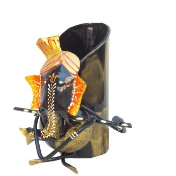 Ganesha Pen Stand / Flower Vase. Iron/ Painted