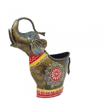 Elephant Pen Stand / Flower Vase. Iron/ Painted