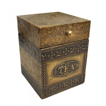 Embossed Brass Art Wooden Tea Container Box - Full Brass