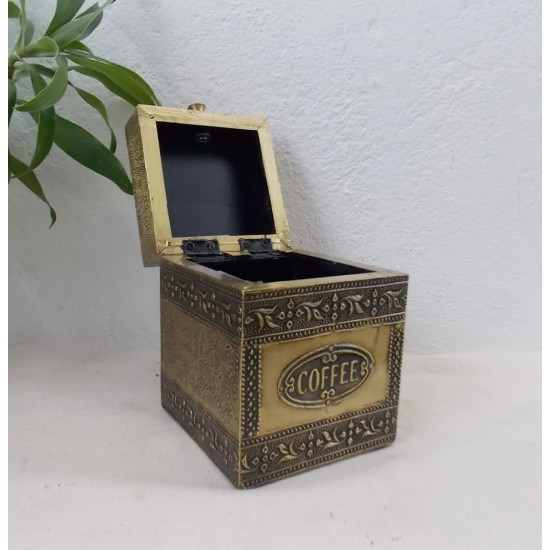 Embossed Brass Art Wooden Coffee Container Box - Full Brass