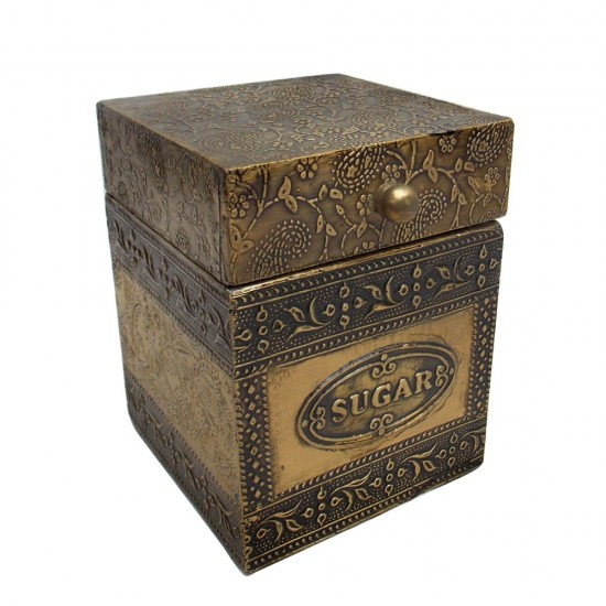 Embossed Brass Art Wooden Sugar Container Box - Full Brass
