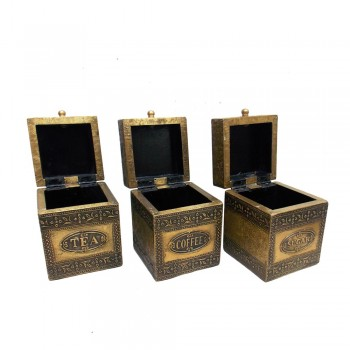 Embossed Brass Art Wooden Tea-Coffee-Sugar Container Box - Full Brass (Set of Three)