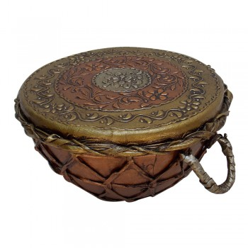 Antique Copper Brass Colored Indian Tribal Nagada (Drum) - Small 10""