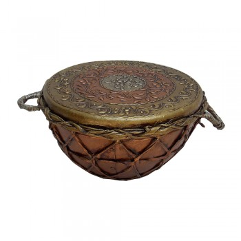 """Antique Copper Brass Colored Indian Tribal Nagada (Drum) - Small 10"""""""
