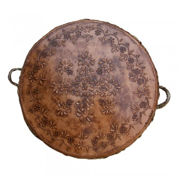 "Antique Copper Brass Colored Indian Tribal Nagada (Drum) - Large dia. 20"""