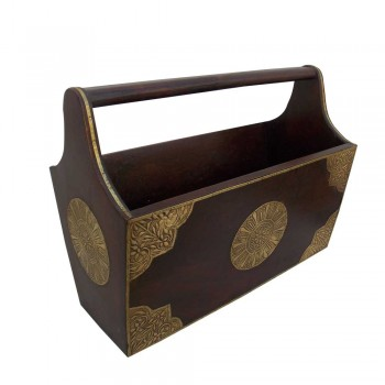 Wooden Basket Magazine Holder
