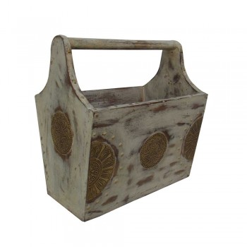 Wooden Basket Magazine Holder - Distress White