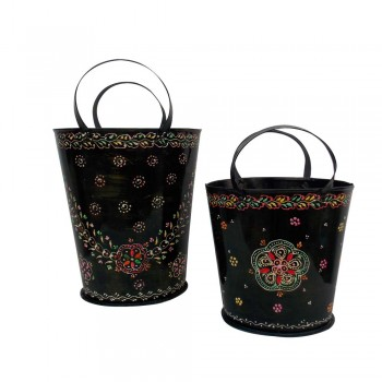 Iron Painted Bucket - Set of Two